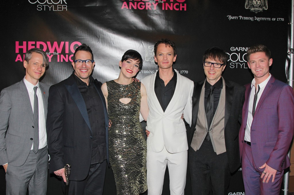 Creative team of Hedwig and the Angry Inch on opening night (l to r): Book writer John Cameron Mitchell, director Michael Mayer, actress Lena Hall, Neil Patrick Harris, composer/lyricist Stephen Trask, choreographer Spencer Liff. Photo: Bruce Glikas.