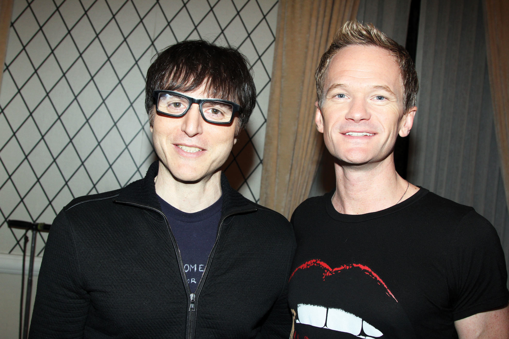 Hedwig and the Angry Inch's composer Stephen Trask '89 and actor Neil Patrick Harris. 2014_Bruce Glikas/Broadway.com
