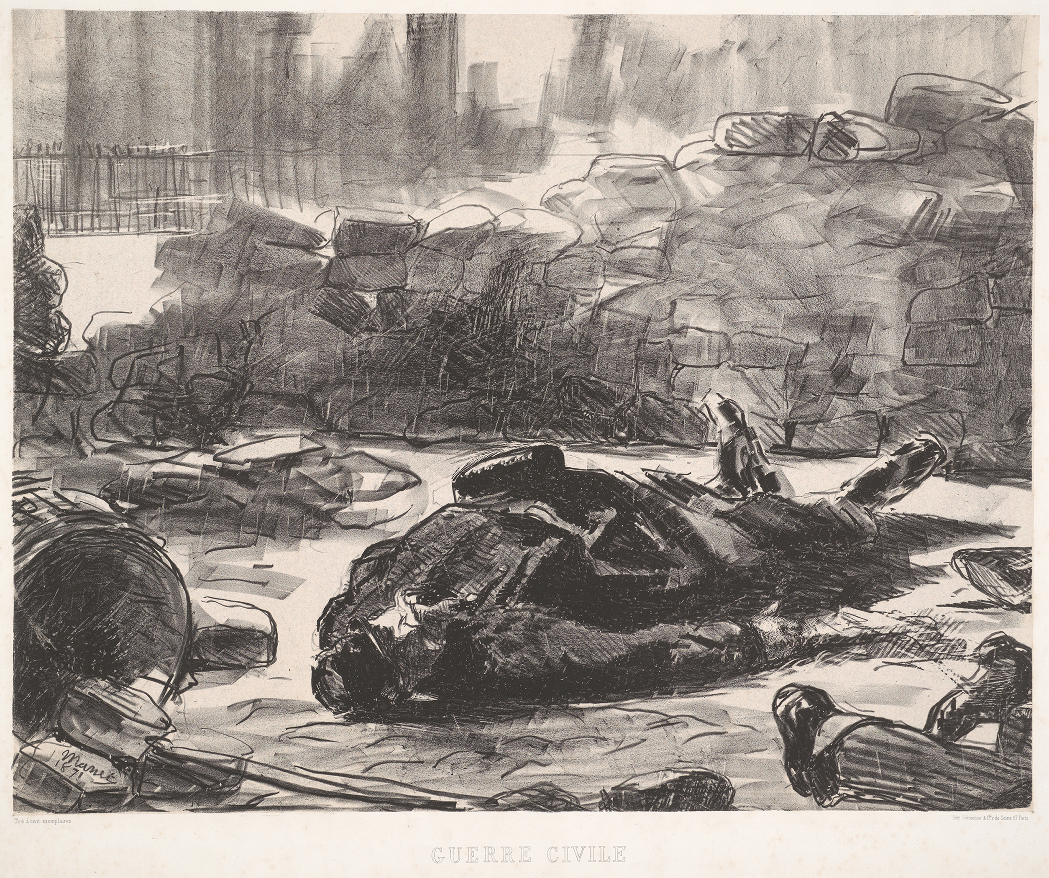 Édouard Manet (French, 1832 - 1883). Guerre Civile, scène de la Commune de Paris, 1871 (Civil War), 1871. Lithograph on chine collé mounted on heavy wove paper. Image: 400 mm x 510 mm (15.75 in. x 20.08 in.). Weedon Endowment funds, 1974. DAC accession no. 1974.24.1. Open Access Image from the Davison Art Center, Wesleyan University.