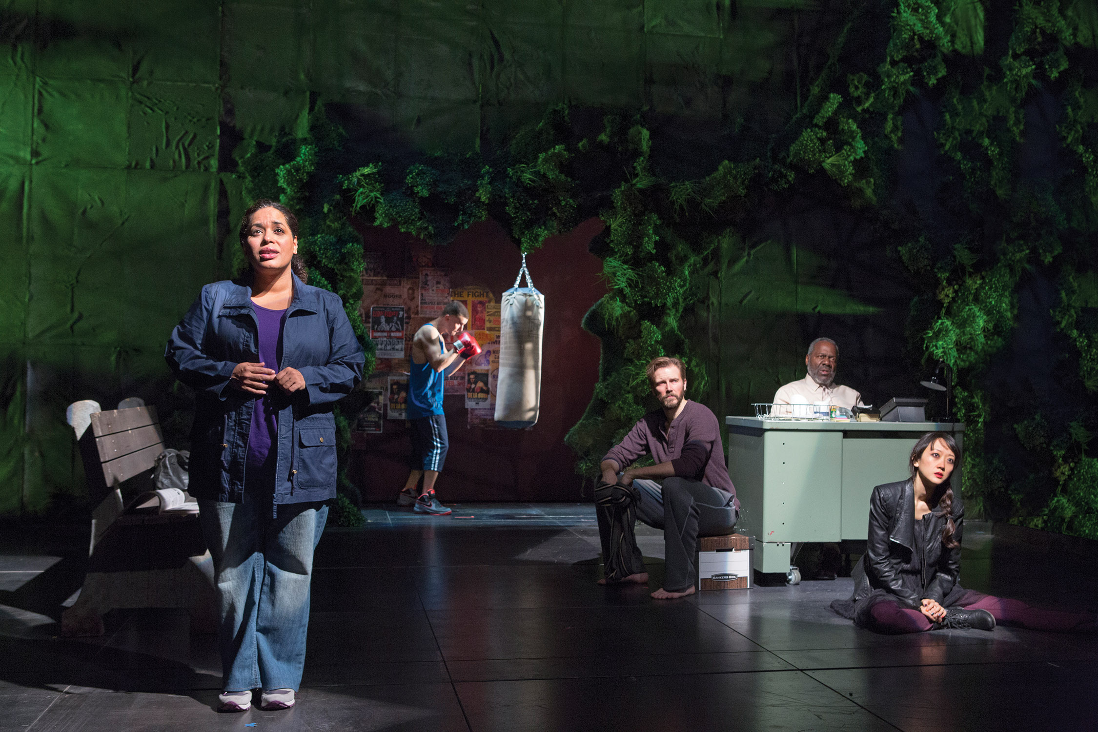 (Left to right) Liza Colón-Zayas, Armando Riesco, Bill Heck, Frankie Faison, and Sue Jean Kim in Water by the Spoonful by Quiara Alegría Hudes at a production at Second Stage Theater, New York City, 2013.  Photo: Richard Termine
