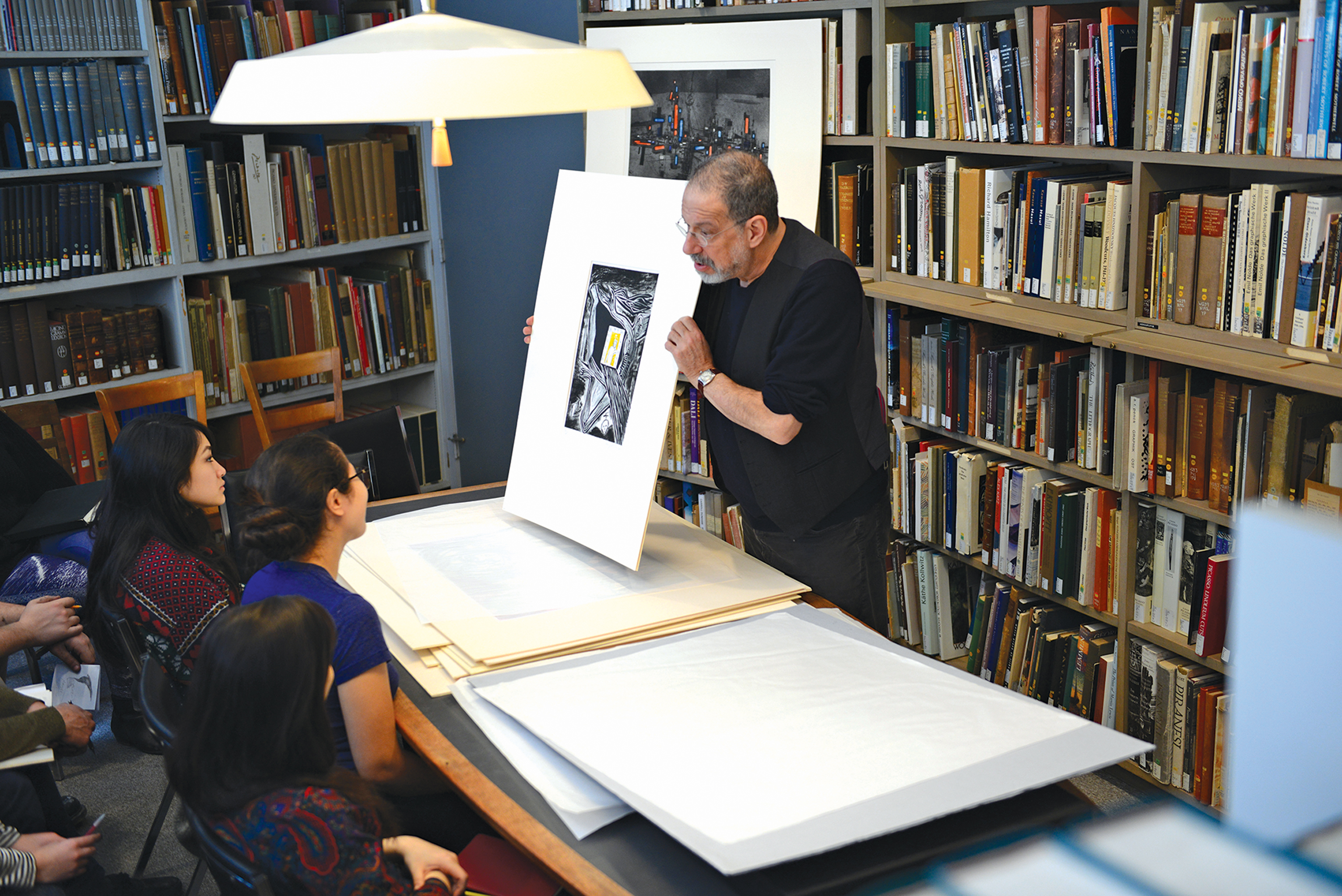 Professor of Art David Schorr makes use of the Davison Art Center's vast collection of prints to familiarize his students with the work and process of great artists who were printmakers.