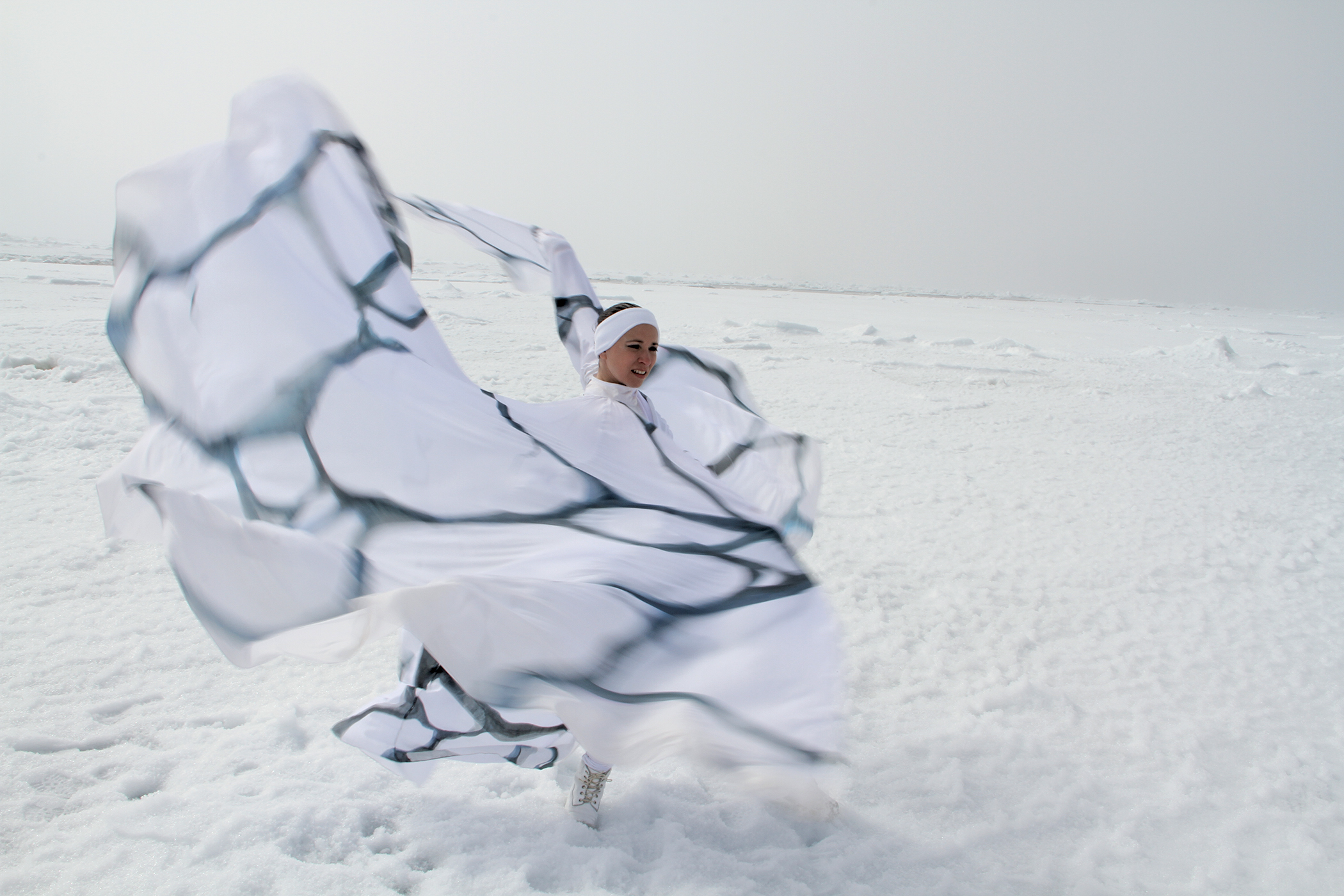 "Choreographer Jody Sperling '92 traveled to the Arctic Ocean to create her pieces on climate change. Her ""Ice Flow"" video captures the experience. Upcoming dance pieces and collaborations will explore the environmental questions further. See timelapsedance.com for more information and listings. Photo: Pierre Coupel"