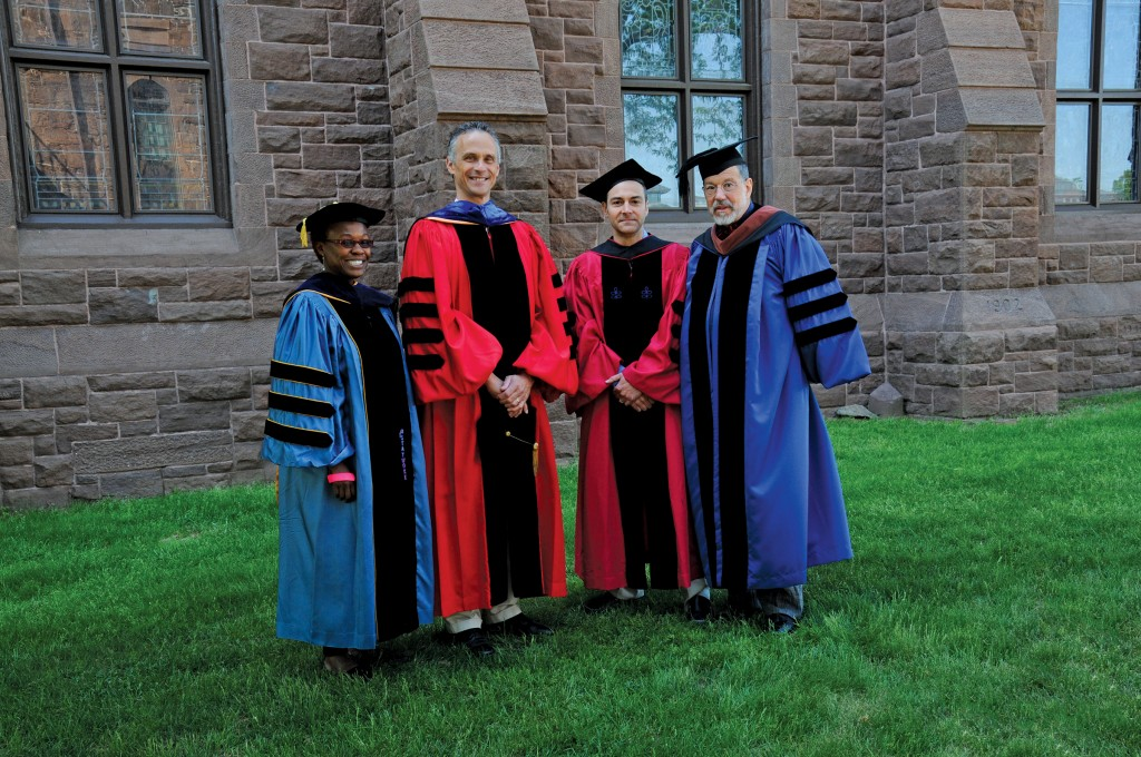 Honored with the Binswanger Prize for Excellence in Teaching (l to r): Gina Athena Ulysses, associate professor of anthropology; Michael Calter, professor of chemistry; and David Schorr, professor of art [President Roth is second from left.]