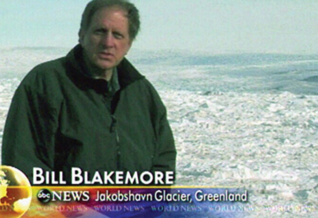 Bill Blakemore '65, former ABC News correspondent shown on the Greenland ice sheet, now reports and lectures on climate change. Photo: ABC News.