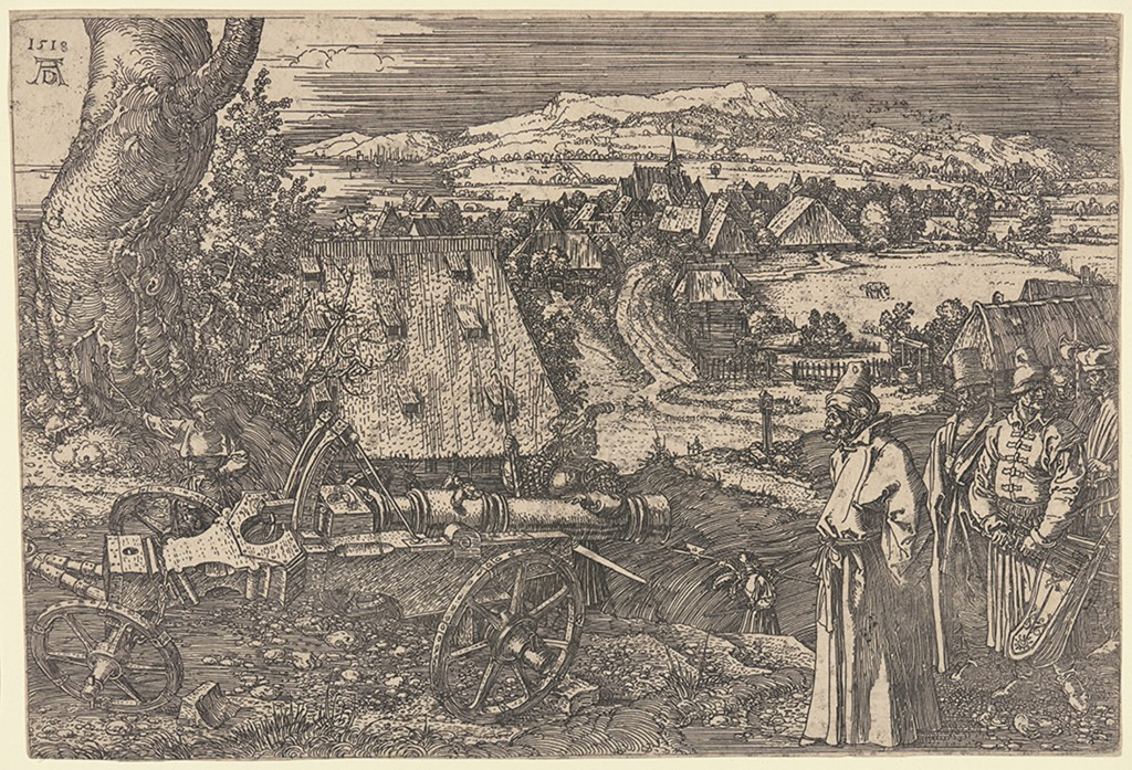 Printmaker Albrecht Dürer (1471–1528) completed his sixth and final etching, Landscape with Cannon, in 1518.  Open Access Image from the Davison Art Center (photo: R. Lee).