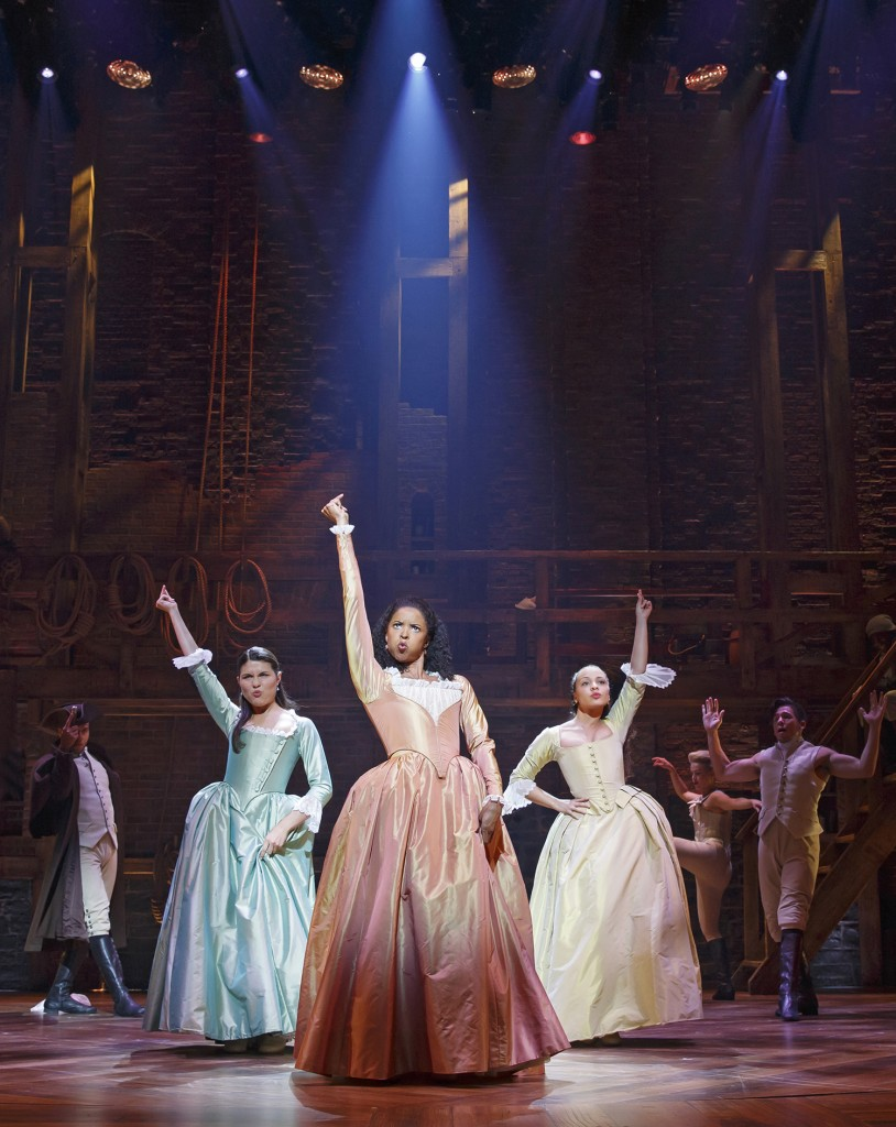 Lin-Manuel Miranda has written songs for the women in Alexander Hamilton's life that reflect their intelligence, strength, and high spirits. (From left) Phillipa Soo, Renée Elise Goldsberry, and Jasmine Cephas Jones. Photo: Joan Marcus.