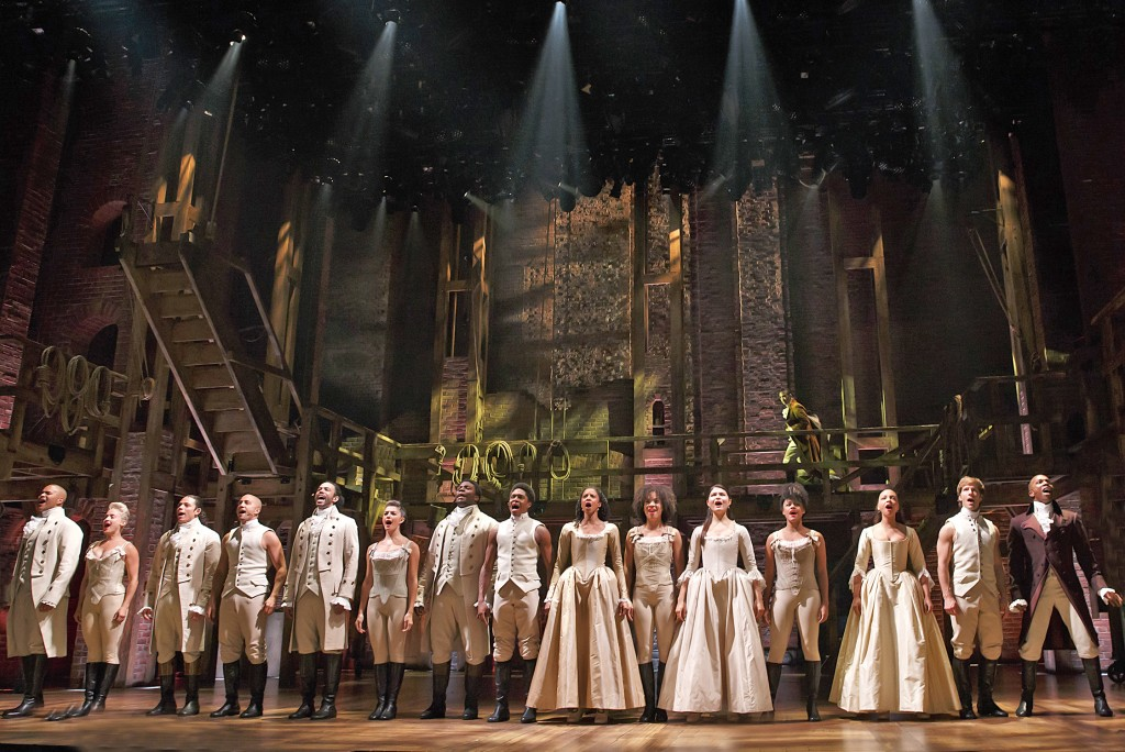 The cast of  Hamilton   at the Richard Rodgers Theatre. Photo: Joan Marcus.