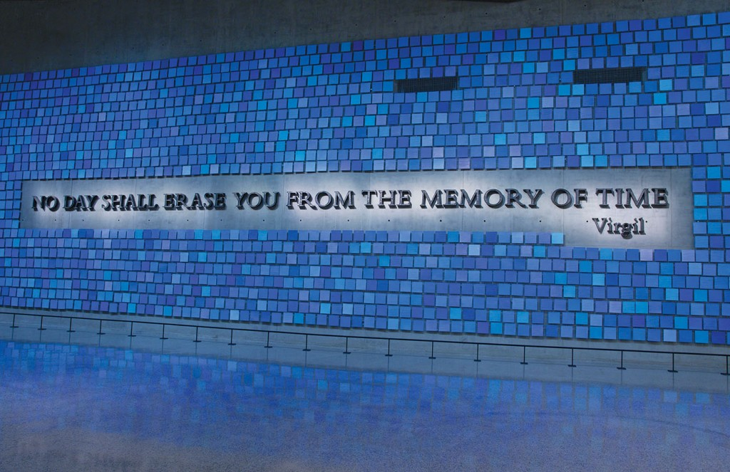 "3. ""No day shall erase you from the memory of time,"" a quote from The Aeneid, by Virgil, forged by artist Tom Joyce from steel recovered from the World Trade Center, reflects the museum's mission to honor and remember. Surrounding the Joyce work is an installation by artist Spencer Finch, ""Trying to Remember the Color of the Sky on That September Morning,"" which features 2,983 watercolor squares—each its own shade of blue, each representing a victim of the 2001 and 1993 attacks. Photo: Jin Lee/911 Memorial."