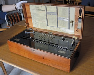 """""""The Millionaire"""" Mechanical Calculator. Useful for determining distances to stars, this late 19th-century calculator had high precision (eight significant figures) and is still in perfect working order. Photo by John Van Vlack."""
